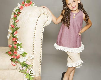Fall Vintage Collection Cream Eyelet Lace Trimmed Allie Top and Lucy Capris in Purple and Beige toddlers and girls sizes 2t up to girl 10