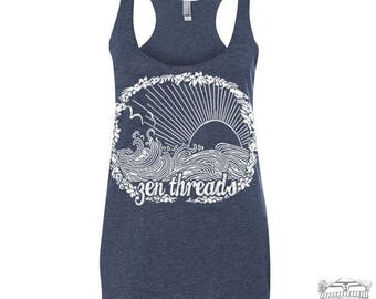 Women's Zen Threads BEACH -hand screen printed Tri-Blend Racerback Tank Top xs s m l xl xxl  (+Colors)