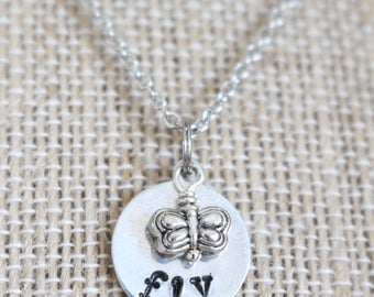 Fly Necklace, Butterfly Necklace, Inspirational Necklace, Hand Stamped Necklace, Whimsical Necklace, Butterfly Charm