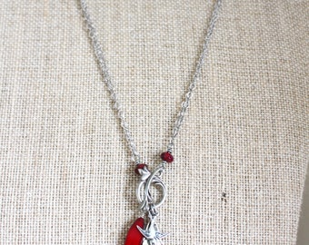 Red and Silver Bird Feather Necklace, Long or Doubled Necklace, Silver Feather Necklace, Red Bird Necklace, Long Feather Necklace