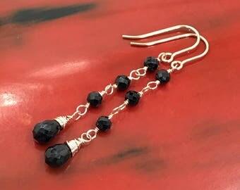 Black Dangle Earring Rose Gold Earrings Wire Wrap Gem Black Gemstone Black Spinel Rose Gold Earring Minimalist Earrings