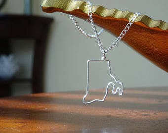Rhode Island Outline Necklace - Silver Pendant