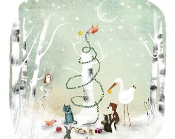 50% Off - Summer SALE An Enchanted Christmas - open edition print