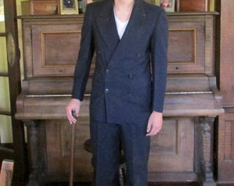 Steampunk Mens Suit 1930s Double Breasted Vintage Suit Tailored Hollywood Gangster Movie Suit Navy Blue