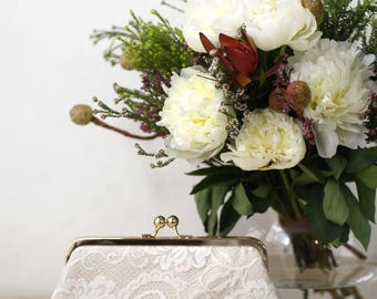 Peony Paisley Lace Bridal Clutch in Champagne and ivory 8-inches | Bridesmaid Clutch