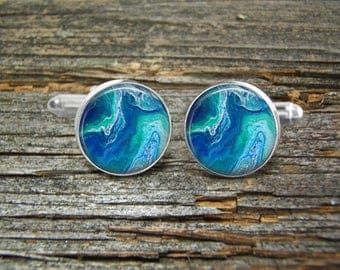 Acrylic Pour Cufflinks Blue Aqua White-#11-Deep Channel Sailing-Abstract Art-Man Gift-Wedding-Abstract Acrylic Painting-Jewelry Box-Sailing