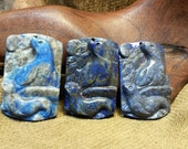 NEW ~ Seals Alert carved in Natural Lapis Lazuli Rectangle
