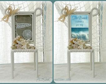 Coastal Decor Picture Frame - Little Beach Chair - Holiday Photo Frame