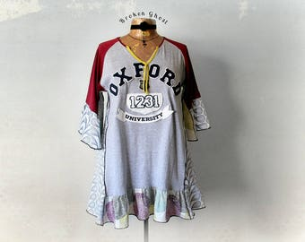 Upcycled Clothing Altered T-Shirt Long Length Boho Blouse Peasant Shirt Music Festival Women's Hippie Top A-Line Flared Smock Top L 'ZAHARA'