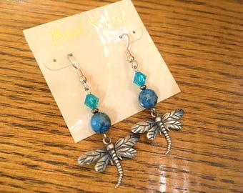 Dragonfly Earrings, Blue Agate, Blue Zircon Swarovski Crystal, Silver Dragonfly, Blue, Hippie, My Julie Jewels, Summer Girl, Dragonfly, Love