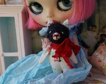 """Kawaii Pocket Pal - 3"""" Mohair Tiny Teddy Cat for Blythe Dolls - Shabby Kawaii Style Bear"""