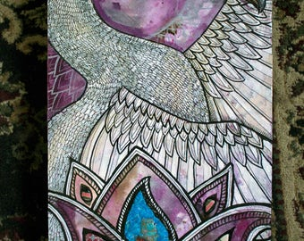 Original Swan Mixed Media Mosaic and Painting by Lynnette Shelley