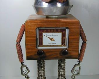 PILOTUNER Found Object Robot Sculpture  Assemblage