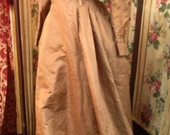 "1880's. 34"" bust, light brown watered silk wedding gown."