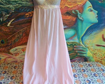 Pink Nightgown, Vintage Lingerie, 60s, long, Night wear, size 34