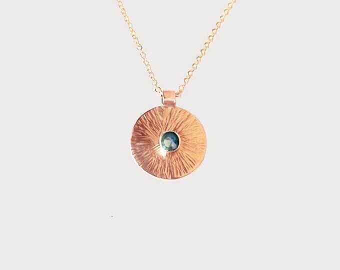 Cosmic Sunrise_ 14K Rose Gold Denim Blue Montana Sapphire Necklace