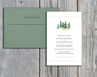 Snowy Pine Trees Wedding Invitation Set - Invite and Response Card
