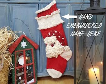Custom Knit Christmas Stockings with Hand Embroidered Name Personalized Christmas Stocking With Santa Xmas Stockings White Red Custom Name