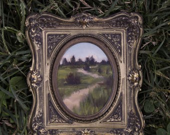 Along the Path - Original Landscape Oil Painting on Paper in Vintage Frame