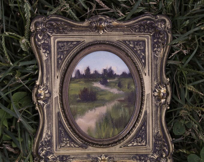 Featured listing image: Along the Path - Original Landscape Oil Painting on Paper in Vintage Frame