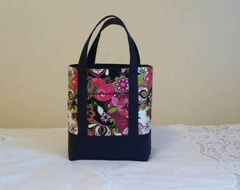 New BIBLE TOTE Bible Bag Perfect Size for your Bible, Journal, Pens, Study guides. Pink modern floral with black canvas accents