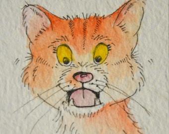 GINGER Cat ACEO, (Art Cards Editions Originals) Original Illustration Art, Watercolour and Pen