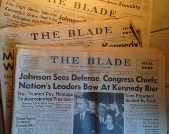 Four November, 1963 The Blade Newspapers Featuring JFK Death