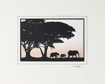 Elephants Hand-Cut Papercut