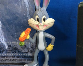 Vintage Bugs Bunny R. Dankin Plastic Toy Doll & Original Bag 1971 Warner Bros. Looney Tunes Hong Kong Vinyl Squeak Rabbit