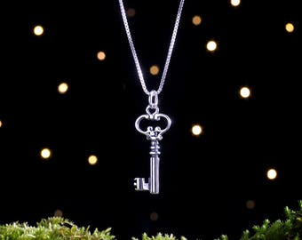 Sterling Silver Key Charm - Double Sided - (Charm, Necklace, or Earrings)