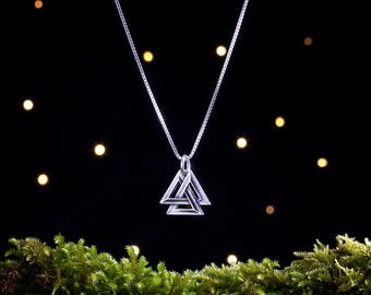 Sterling Silver Viking Valknut - Small, 3D Double Sided - (Charm, Necklace or Earrings)