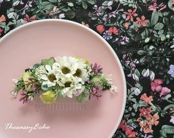 Ivory green wedding hair comb Bridal hair comb bridal headpiece wedding hair comb
