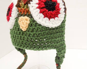 Zombie Owl Hat, Little Hoot, Youth Size Fall & Green with Red Eyes