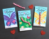 Butterfly Caterpillar Sixlets Valentines Cute Love Bugs Printable DIY Valentine's Day Cards Insects Butterfly Life Cycle Biology