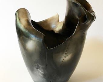 Smoke fired sculptural earthenware vessel