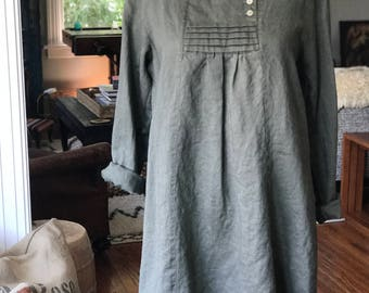 Vintage Olive Green Linen Dress with Bib Collar Fits S to M