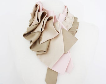 Lapel in Blush Color Block - Edwardian Silk Ruffle Couture Necktie Collar