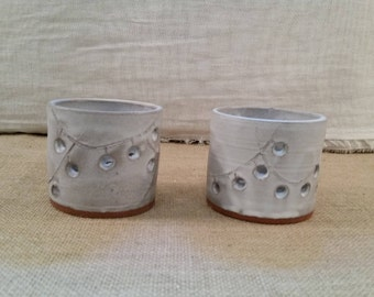 Votive ceramic candle holders with string light design: Handmade Pottery, White Matte Glaze, Red Clay Body - OOAK!