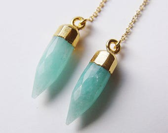 SALE Amazonite Point Gold Earrings
