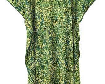 Green Batik Caftan Kaftan Maxi Long Dress 1X 2X 3X 4X