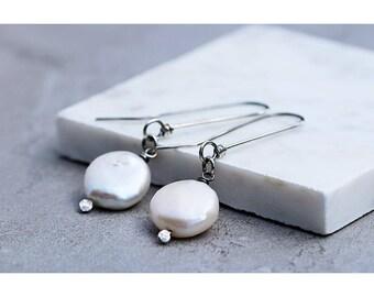 Real Pearl Earrings Silver | Pearl Coin Earrings | June Birthstone Earrings | June Earrings | Minimalist Earrings | Oxidized Finish