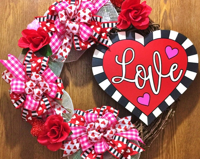 Valentine's Day Love Roses - Welcome Door Grapevine Wreath
