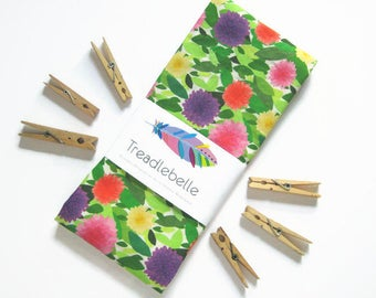 Dahlia Floral Tea Towel ~ Kitchen Linens ~ Dish Towel ~ Cup Towel ~ Bright and Colourful ~ Garden ~ Decor ~ Petals ~ Leaves ~ Under 20