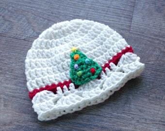 Christmas Tree Hat, Baby Christmas Hat, Crochet Christmas Baby Hat, Crochet Christmas Tree, Crochet Baby Girl Hat, Newborn Christmas Hat