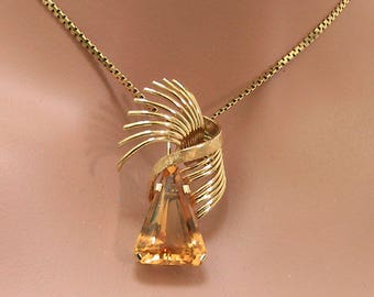 18K Citrine Pendant Necklace Mid Century Modern 18 Karat Yellow Gold Citrine Pendant Necklace November Birithstone Gift for Her