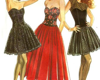 Vintage New Look 6955 UNCUT Misses Strapless Bustier Dress with Full Skirt Evening Dress Sewing Pattern Sizes 8-16