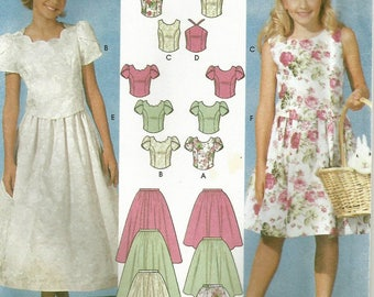 Simplicity 7106 UNCUT Girls Ankle Length Flower Girl 2 PC Dress, Pageant Party Dress Sewing Pattern Size 7-10
