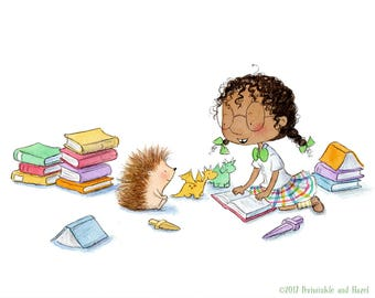 Periwinkle and Hazel Love a Good Book - Girl Reading to Hedgehog  - Art Print