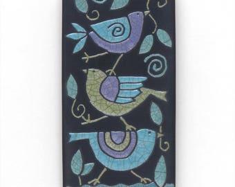 Birds ,Ceramic tile,Whimsical,turquoise,purple,green, handmade, wall art, home decor, 3x6 inch raku fired art tile