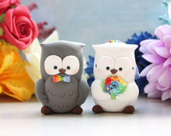 Rainbow Owl wedding cake toppers - colorful bride groom love birds blue orange yellow red bridal gift rustic woodland animals barnyard cute